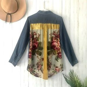Altar'd State | Floral Velvet Back Denim Front Top